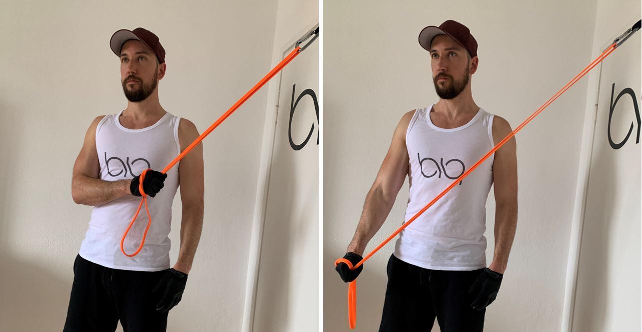 Triceps Pushdown one arm diagonal